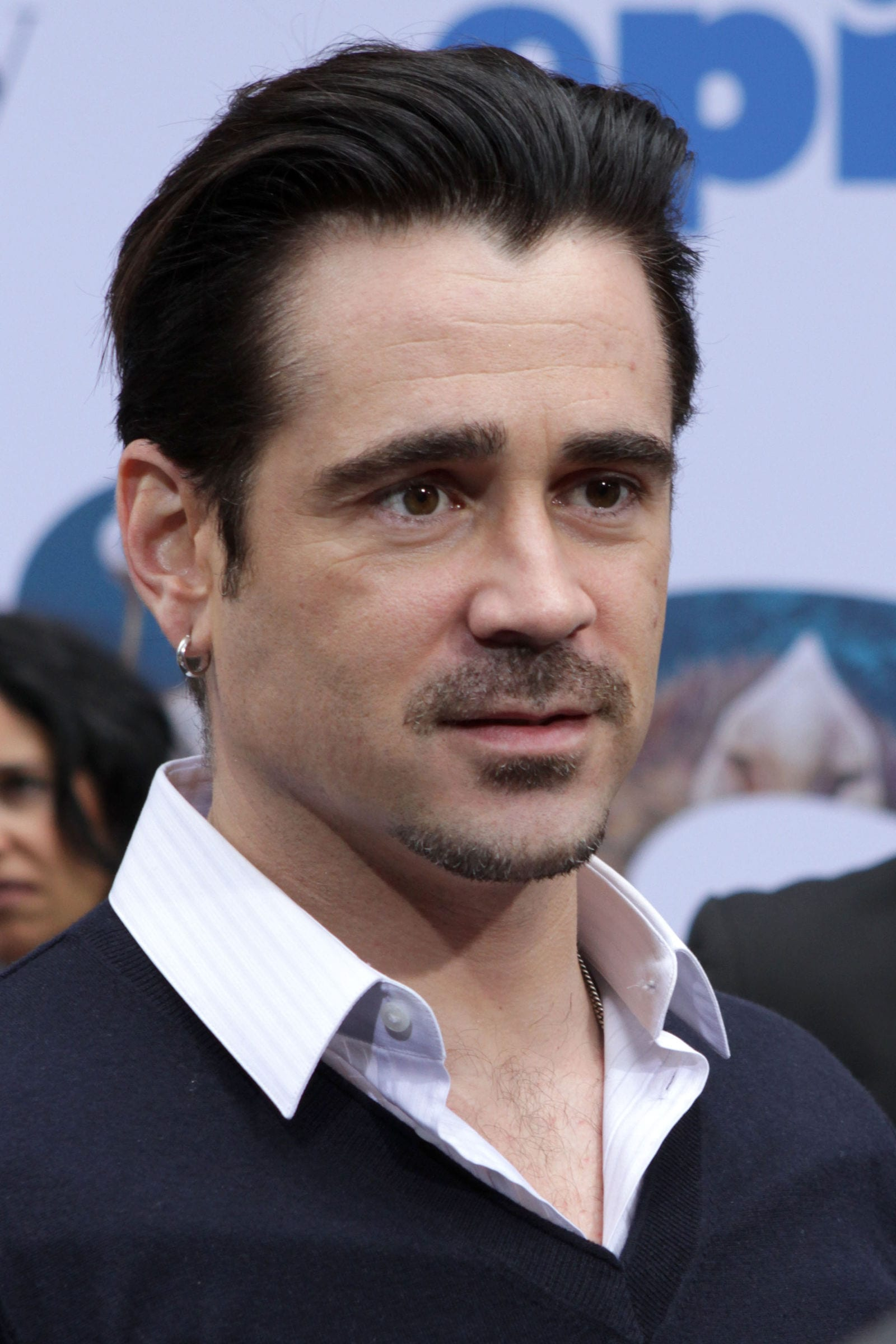 Colin Farrell window peak sweep back hairstyle quiff JStone